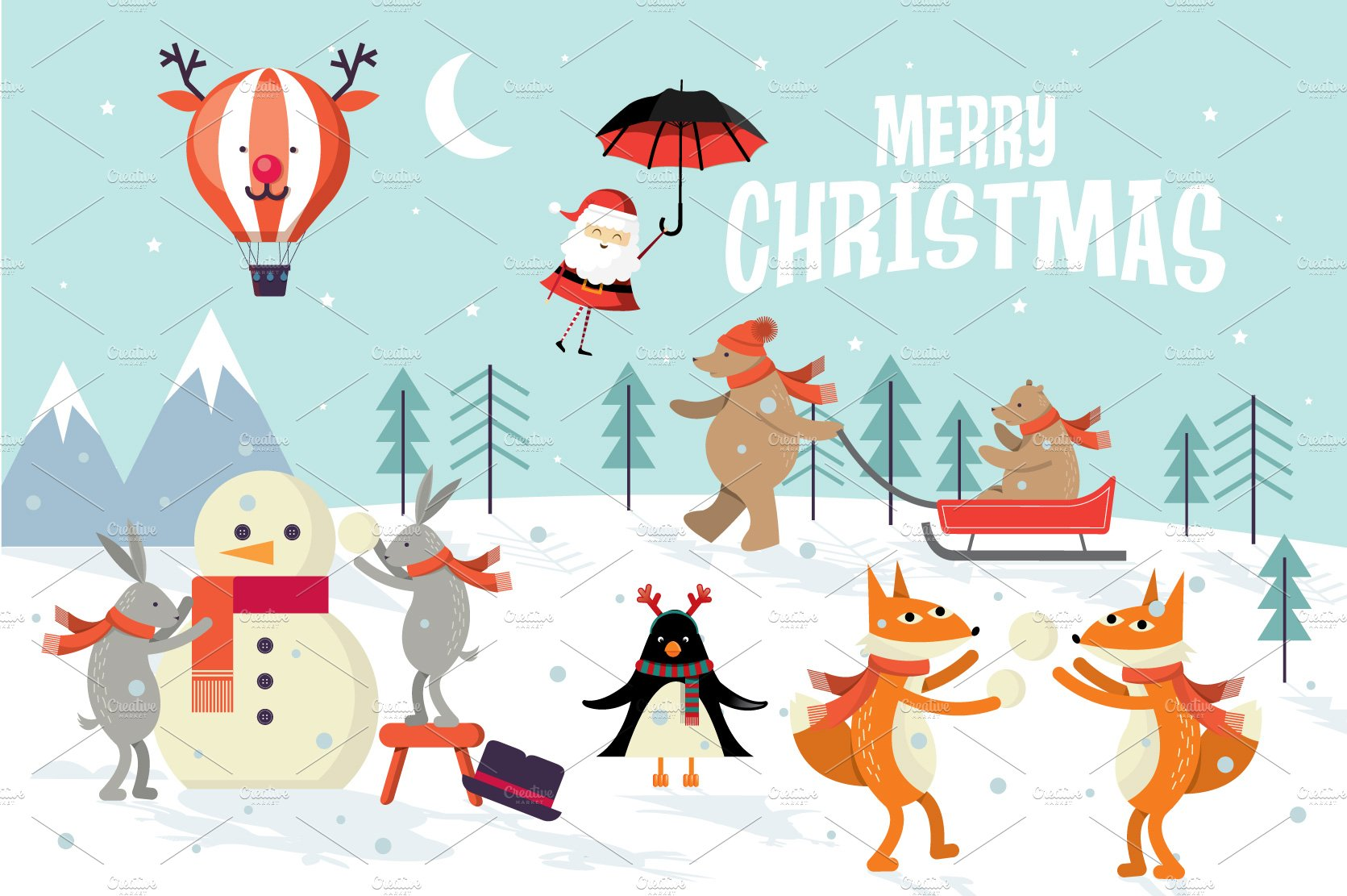 Christmas Greetings Template Vector Illustrations Creative Market
