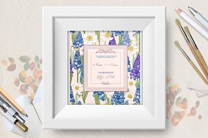 Wedding invitation with hyacinth
