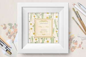 Wedding invitation with narcissus