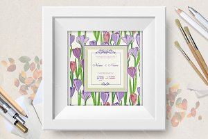 Wedding invitation with crocus