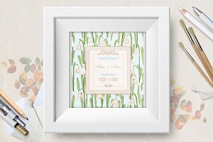 Wedding invitation with snowdrops