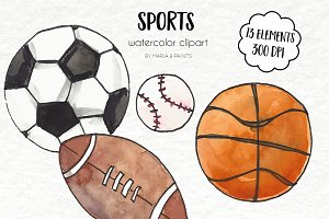 Watercolor Clip Art - Sports
