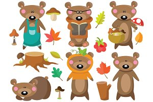 Autumn Bear Clipart Set