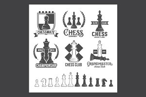 Set of chess labels and badges