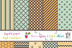 Cute set of Digital Paper: Bee Life