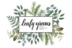 Leafy Greens Vector Watercolor