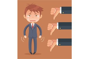 Sad businessman character