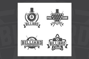 Billiards emblems and labels