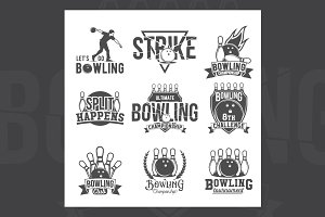 Set of bowling emblems and labels