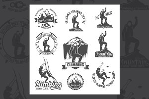 Set of climbing badges and logos