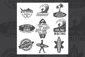 Set of vintage surfing badges