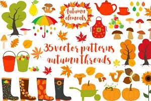 Big autumn set of patterns