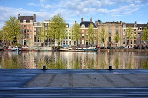 Houses of Amsterdam at Amstel River