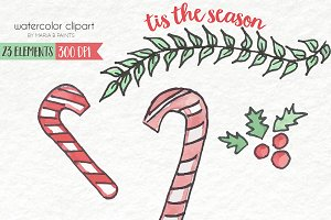 Watercolor Clip Art - Christmas
