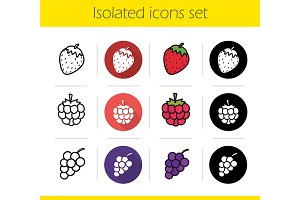 Berries. 12 icons. Vector