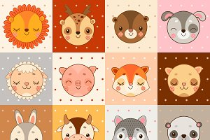 Set of 16 animal face icons