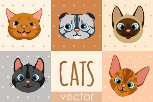 Set of 8 cartoon cat faces