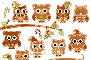 Gingerbread Owls Clipart and Vectors