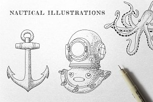 Vintage Nautical - Ink Illustrations
