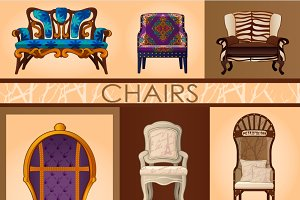 Chairs in retro and modern style