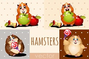 Hamsters with apple, cake and candy
