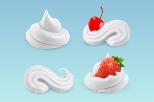 Whipped cream, vector set