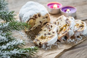 Stollen with snowy fir branch