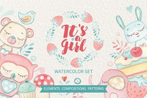 IT'S A GIRL watercolor set