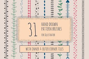 Hand drawn pattern brushes for AI