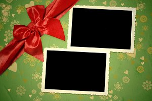 Christmas two vintage empty frames