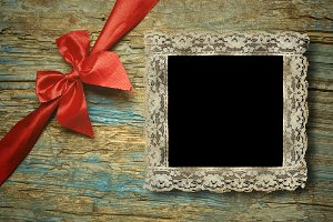 One lace vintage empty photo frame