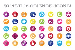 40 Math & Science Icon Vectors