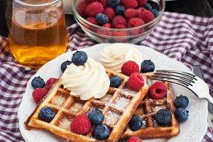 Breakfast with belgian waffles