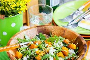 Squash, arugula, couscous salad
