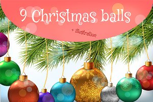 9 Christmas balls + 1 illustration