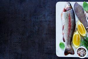 Raw rainbow trout
