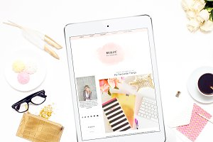 "Pink Watercol Blogger Template""Muse"""