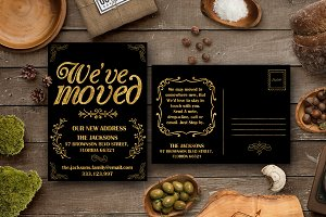 Moving Announcements Gold Foil