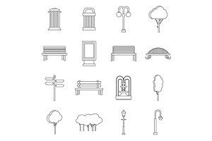Park icons set, outline ctyle