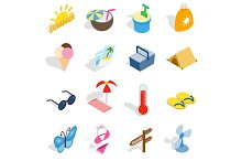 Summer icons set, isometric 3d style