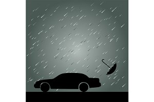 Rain, Umbrella and Car