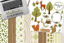 Woodlandia Clip-Art & Paper Bundle