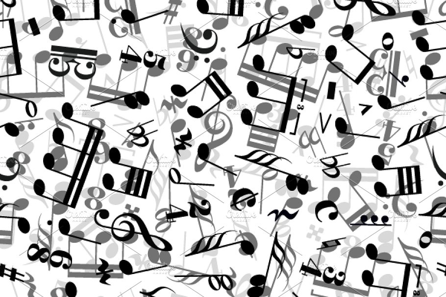 Music signs on white pattern
