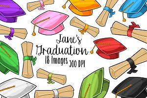 Graduation Caps and Scrolls Clipart