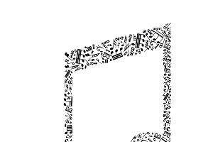 Music note sign on white