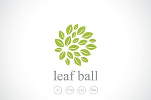 Leaf Ball Logo Template