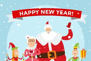 Santa Claus family portrait vector