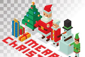 Santa Claus family 3d vector