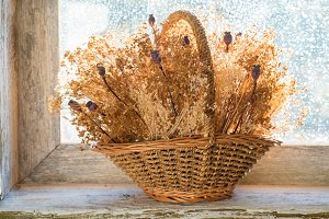basket with dried flowers