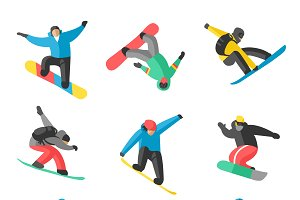Snowboarder jumping  vector pose
